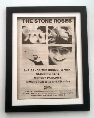 STONE ROSES She Bangs The Drum 1989*ORIGINAL*POSTER*AD*FRAMED*FAST WORLD SHIP • 69.95£