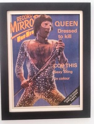 FREDDIE MERCURY*masked*QUEEN*1979*ORIGINAL*COVER*POSTER*FRAMED*FAST WORLD SHIP • 79.95£