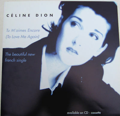 CELINE DION Display Card Tu M'aimes Encore To Love UK PROMO ONLY Rare 12  Poster • 10.95£