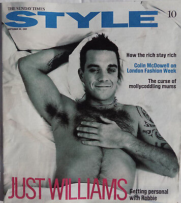ROBBIE WILLIAMS Magazine Sunday Times STYLE - Robbie Cover  2001 + 2 Page Articl • 7.95£