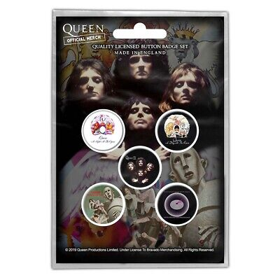 Official Merch 5-BADGE PACK Rock Metal Button Pin Badges QUEEN Early Albums • 4.99£