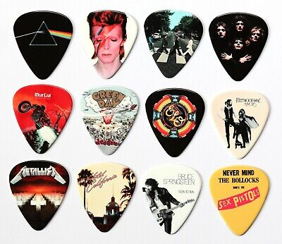 24 Classic Album Covers On 12 Double Sided Guitar Picks Premium Plectrums • 8.99£