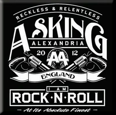 ASKING ALEXANDRIA Rock'n'Roll  Fridge Magnet 3  Square Metal Gift Free UK P&P • 1.50£