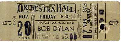 BOB DYLAN Concert Ticket - Orchestra Hall, Chicago 1964 - Reprint • 3.99£