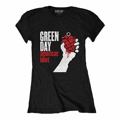 Womens Green Day American Idiot Black Fitted T-Shirt - Retro Music Tee • 15.95£