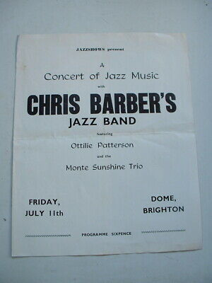 1950s CONCERT PROGRAMME CHRIS BARBERS JAZZ BAND FEATURING OTTILIE PATTERSON  • 4.95£