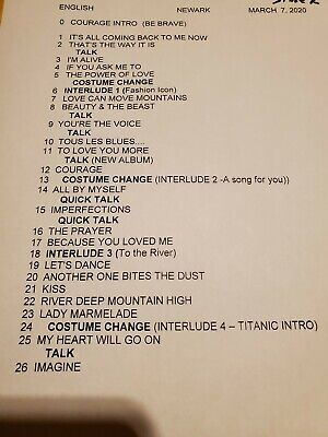Celine Dion Set List Concert Newark Nj 2020 • 14.37£