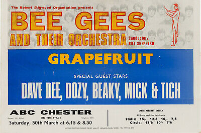 THE BEE GEES Concert Window Poster - ABC Chester 1968 - DD, D, B, M, T - Reprint • 4.99£