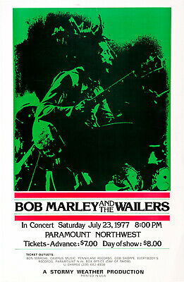 BOB MARLEY & THE WAILERS Concert Window Poster - Cancelled SEATTLE 1977 Reprint • 4.99£