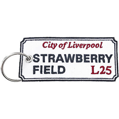 Double-sided Embroidered Patch KEYRING Liverpool Road Sign STRAWBERRY FIELD • 8.99£