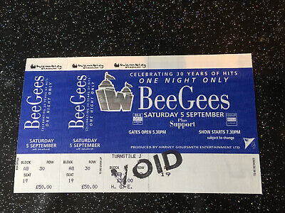 Bee Gees One Night Only Concert Ticket Stub • 30£