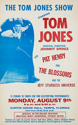 TOM JONES Concert Window Poster - Tampa, Florida 1971 Pop Singer - Reprint • 4.99£