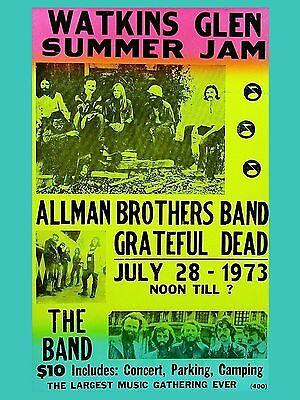 Allman Brothers / The Band Watkins Glen 16  X 12  Photo Repro Concert Poster • 5.50£