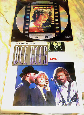 TWO  BEE GEES LASER DISCS : ONE FOR ALL1990  And STAY'N ALIVE 1991 JOHN TRAVOLTA • 25.99£
