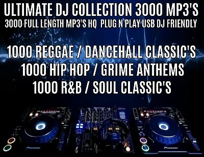 Hip Hip, Grime, RnB, Reggae - 3000 Full Length HQ MP3'S  - 32GB Plug N Play USB • 19.99£