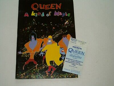 Queen 'A Kind Of Magic' 1986 Tour Programme And Ticket Stub Plus POSTER • 25£