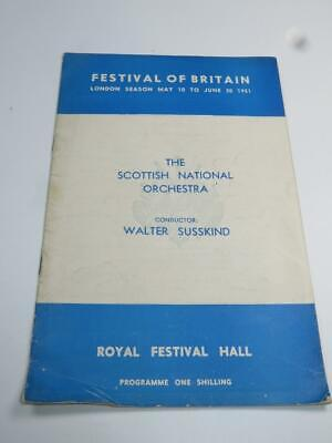 VINTAGE PROGRAMME Festival Of Britain Scottish National Orchestra 1951 • 4.99£