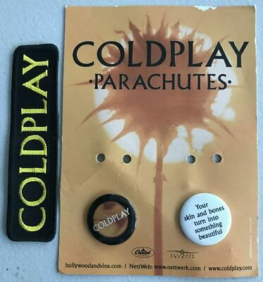 COLDPLAY Parachutes Two Promo Buttons/Badges On Card + Embroidered Patch • 19.68£