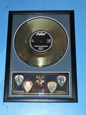 Wasp - I Wanna B Somebody 7  Gold Single & Guitar Picks Display Novelty Item • 24.99£