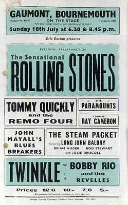 THE ROLLING STONES Concert Window Poster - Gaumont, Bournemouth 1965 - Reprint • 4.99£