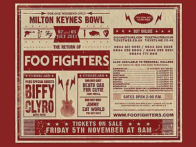 The Foo Fighters Milton Keynes 2011 16  X 12  Photo Repro Concert Poster • 5.50£