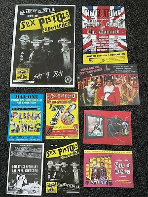 9x Punk Flyers/sex Pistols/ The Clash/ Damned/ Oi/ Test Tubes/ Sid Vicious/ Uk • 3.49£