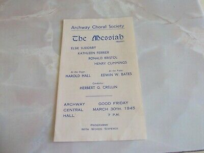 The Messiah  Concert Programme, Archway Central Hall  (1945) - Kathleen Ferrier • 32.99£