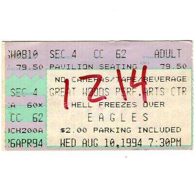 THE EAGLES Concert Ticket Stub MANSFIELD MA 8/10/94 HELL FREEZES OVER TOUR Rare • 2.12£