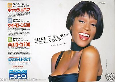 Whitney Houston  Make It Happen With Nissin  Rare Japan Promo Poster From 1999 • 16.98£