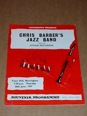 Chris Barber's Jazz Band 1957 UK Birmingham Town Hall Concert Programme (2) • 10£