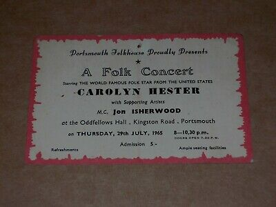 Carolyn Hester 1965 Oddfellows Hall, Portsmouth Concert Ticket • 16£