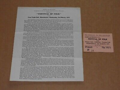 Magna Carta/Johnstons/Penine Folk 1971 Manchester Concert Ticket + Flyer  • 25£
