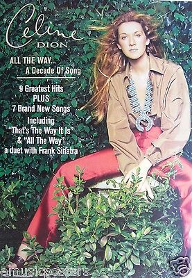 CELINE DION  ALL THE WAY-9 GREATEST HITS  AUSTRALIAN PROMO POSTER-Pop Music Diva • 15.95£