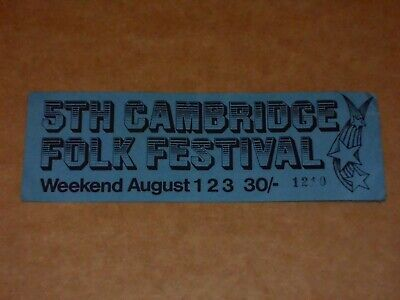 5th Cambridge Folk Festival 1969 Ticket (Dubliners/Al Stewart/Ralph McTell) • 25£