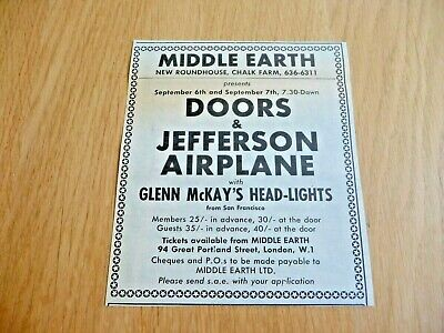 The Doors Jefferson Airplane  Middle Earth  Original  Gig Advert Cutting 1968 • 12.99£