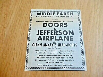 The Doors Jefferson Airplane  Middle Earth  Original  Gig Advert Cutting 1968 • 9.39£