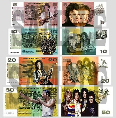 Set Of 4 Queen / Freddie Mercury Fun Australian Notes 2 Sided • 1.49£