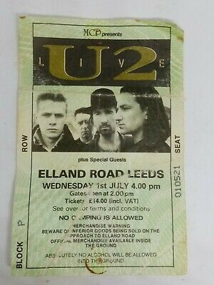 U2 Concert Ticket Stub  Elland Road Leeds Yorkshire Vintage Wednesday 1st July  • 9.99£