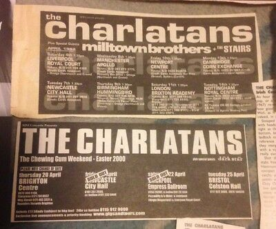 THE CHARLATANS Vintage Press Ads, Tour Dates, Japan Gig Etc. Collectable Burgess • 3.49£
