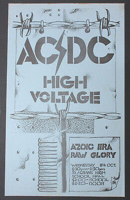 AC/DC St. Albans High School Hall 1975 OZ ORG Concert FLYER High Voltage MINTY • 816.43£