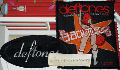 Deftones, Oval Logo 1997, Back To School Tour Metal 2 Patches Sew On Joblot Used • 15£