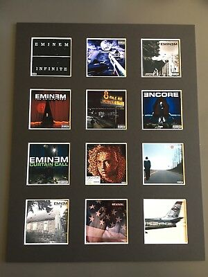 """Eminem LP Discography Mounted Picture 14"""" By 11"""" Free Postage • 15.99£"""