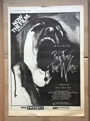 PINK FLOYD THE WALL - MOVIE (A) POSTER SIZED Original Music Press Advert From 19 • 12£