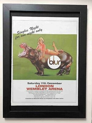 BLUR - Wembley Arena 1999 - Original Framed Advert Poster [L24] • 27.99£