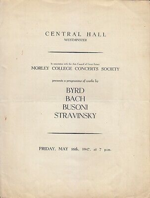 Concert Programme 1947 Westminster Michael Tippett Conducts Noel Mewton Wood • 2.20£