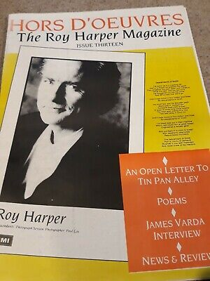 Roy Harper Hors D'oeuvres Magazine, Issue 13, 1988, 24 Pages Very Good Condition • 2£