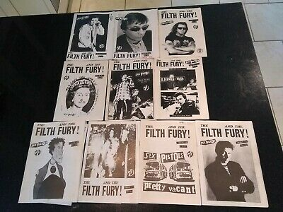 SEX PISTOLS  THE FILTH AND THE FURY  RARE FANZINE 10 ISSUES (PiL, RICH KIDS ETC) • 49.99£