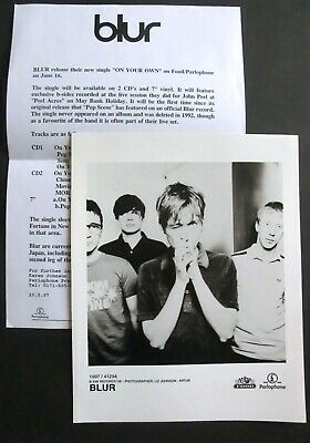 Original Blur Parlophone Promo Photo & Press Release For 'On Your Own', 1997 • 28£