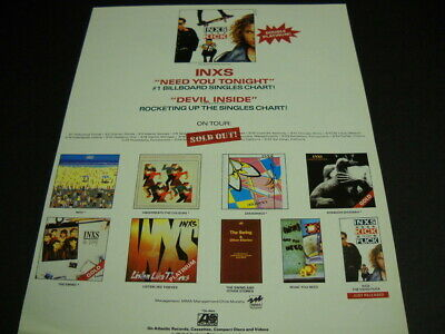 INXS Multi Covers With March 1988 Sold Out Tour Dates PROMO POSTER AD Mint Cond. • 7.12£