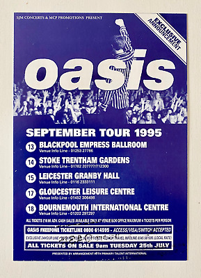 Oasis - Original - September Tour Flyer - 1995 - Brit Pop • 0.99£